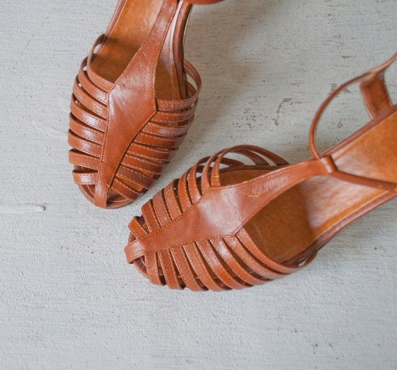 Vintage 70s WHISKEY Brown T STRAP Sandals by MariesVintage from etsy.com
