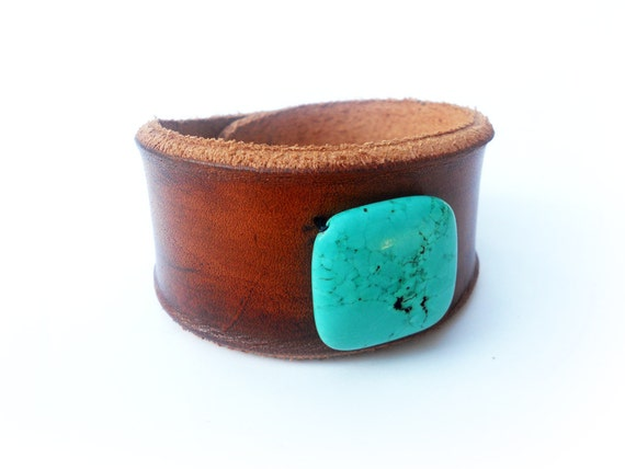 Leather Wristband - Turquoise