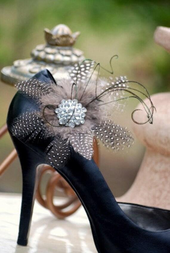 Chic shoe clips handmade Statement Rhinestone Couture Bridal bride bride Summer Party elegant boudoir Edgy Tie Affair autumn autumn