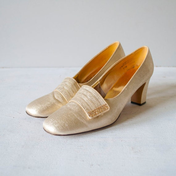 Vintage 60s SPUN GOLD Heels by MariesVintage on Etsy from etsy.com