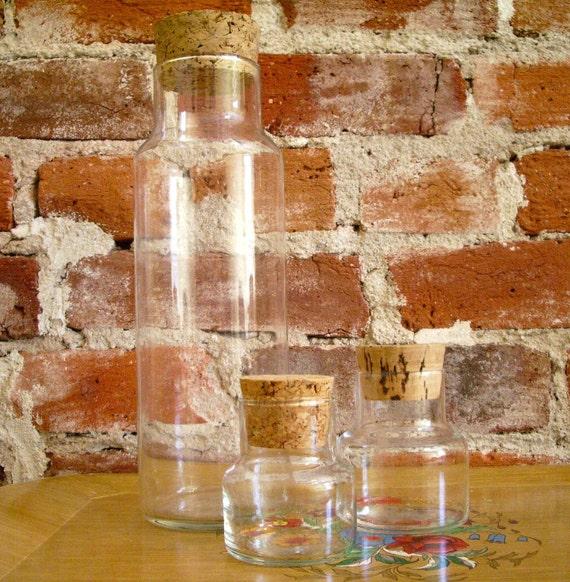 Vintage Bottles Jars- Cork Lids Set of 3