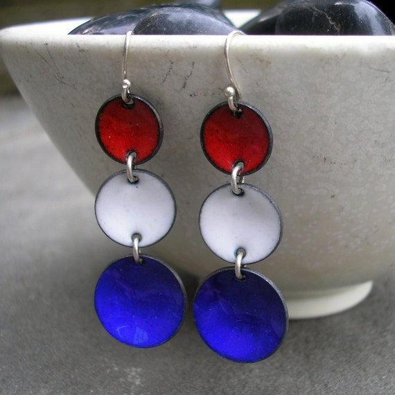 Handmade Red, White, and Blue Enamel and Sterling Silver Dangle Earrings