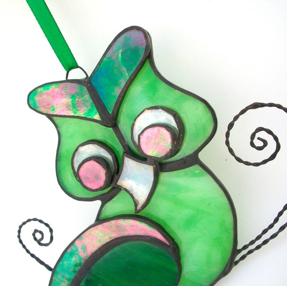 Stained Glass Owl Suncatcher Bold Greens