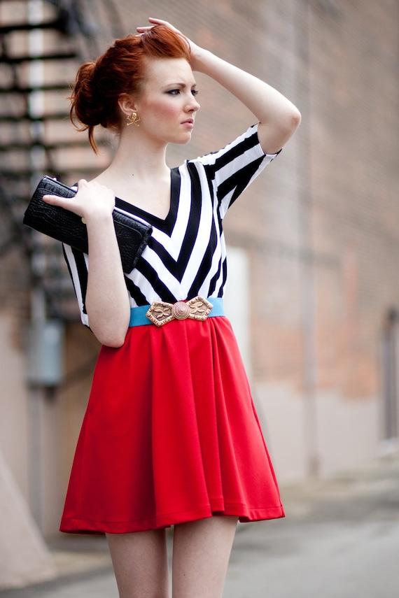 black and white chevron party dress