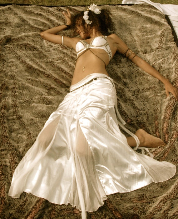 Salena long Skirt in creamy stretch satin and silk chiffon