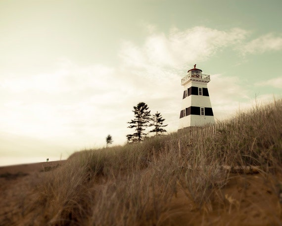 Westpoint -Lighthouse Photography. Nautical faded home decor Tall grass and summer sky on PEI- BOGO for CIJ