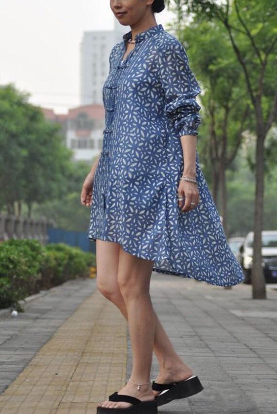 زیبا چینی پیراهن دکمه دستباف