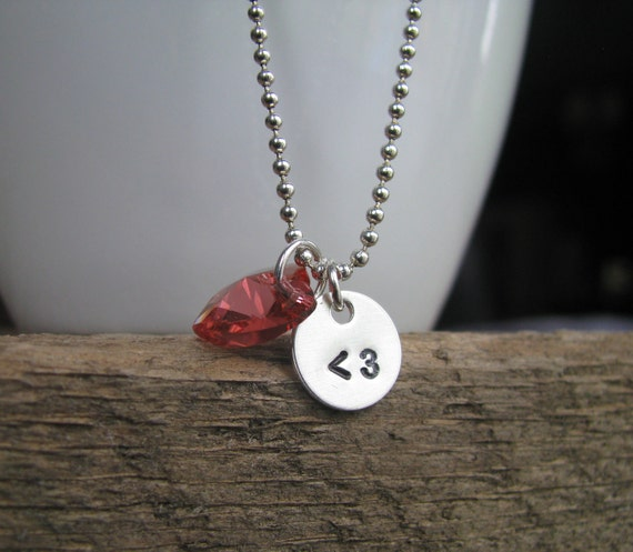Love Text Handcrafted Handstamped Personalized Teeny-Tiny Charm Necklace