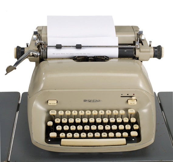 1960s royal empress typewriter - beige taupe ecru - eames era