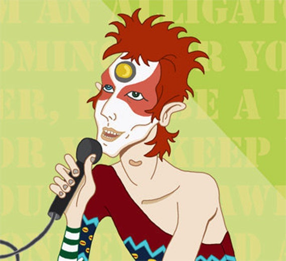 David Bowie. Ziggy Stardust. 8 x 10 Print. Original Artwork. SALE- Special Offer 2x1.