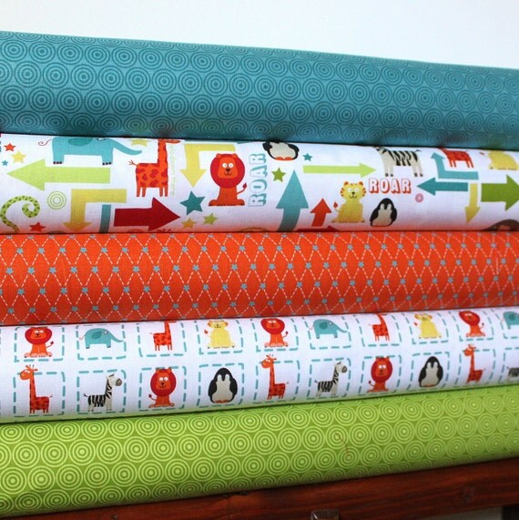 Alphabet Soup Boy By Zoe Pearn for Riley Blake, Half Yard Bundle, 5 Prints 2 1/2 Yards Total