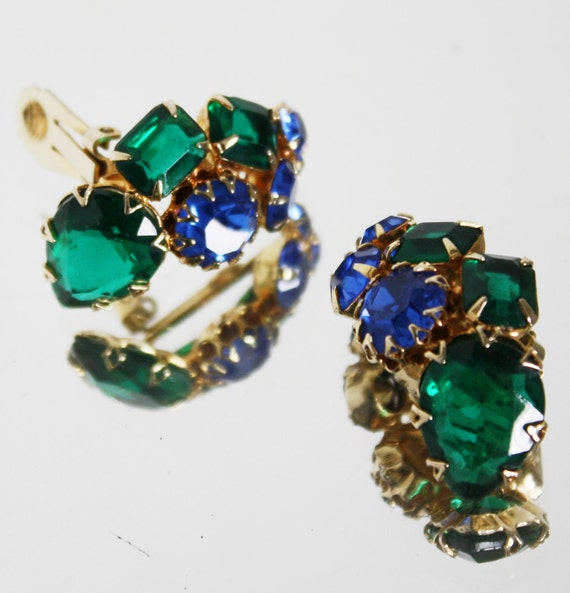 Vintage Chunky Rhinestone Earrings  Julianna by tootsystreasures from etsy.com