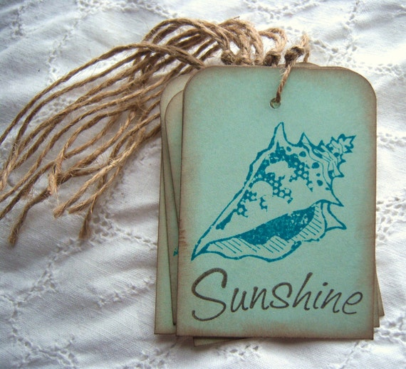 Sunshine and Seashells Hang Tags - Jute Twine and Vintage Inspired