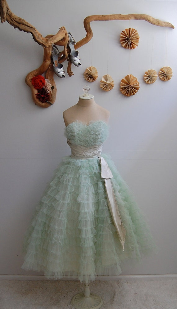 The Audrey- Vintage 1950s Mint Green Tulle Party Dress