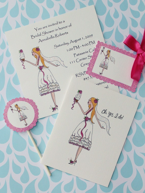 Sassy Bride- Bride with Cupcake Invitations, Cards, Cupcake Flags and Gift Tags