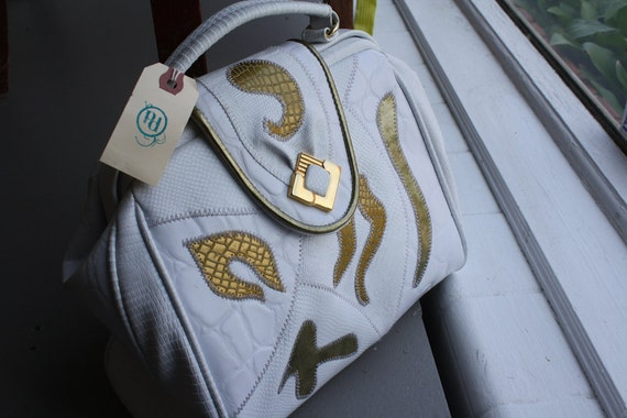 White and Gold Vintage Tote Purse