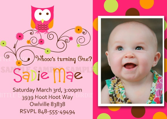 Swirly Retro Owl Invitation. Custom for your birthday party or baby shower invite. Photo/no photo option