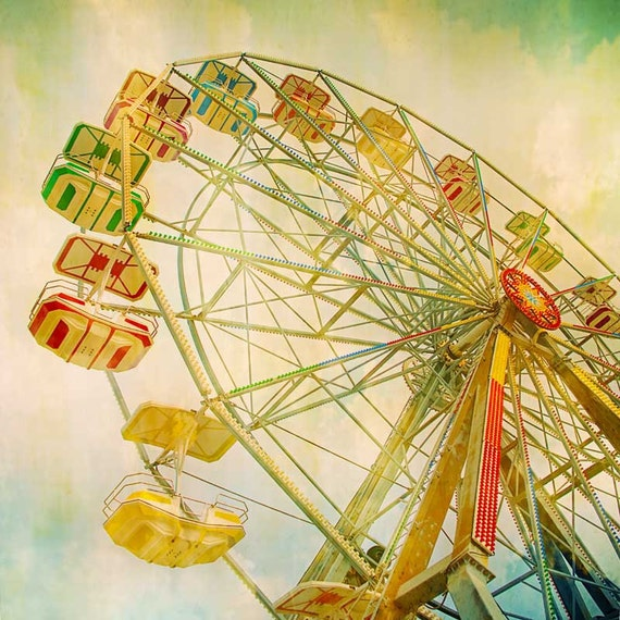 Wheel In The Sky - carnival photography summer fun cotton candy county fair midway ferris wheel nursery decor teal turquoise sky 8x8