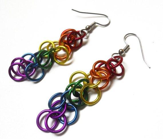 Chainmaille earrings -- Gay Pride rainbow shaggy loops weave
