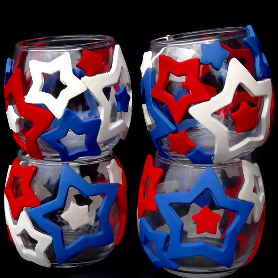 Patriotic Votive Candle Holders for July 4th
