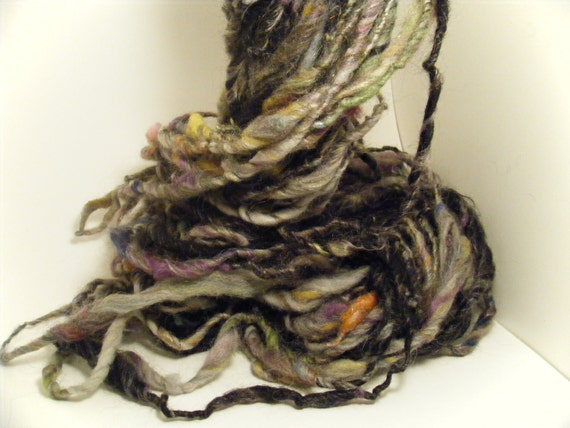 Handspun yarn art yarn bulky thick and thin singles Blackweed
