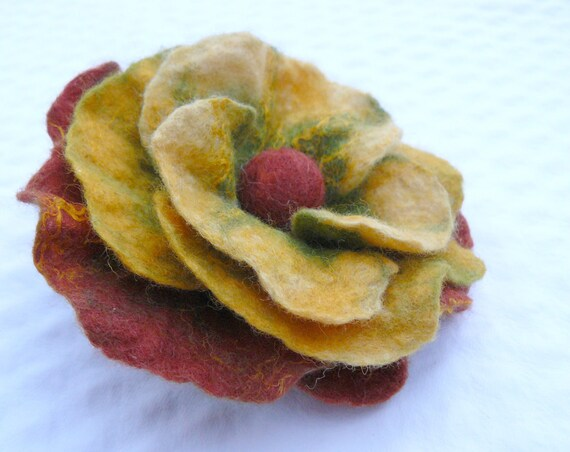 FREE Shipping - Ochre Flower Brooch Pin - Hand Felted