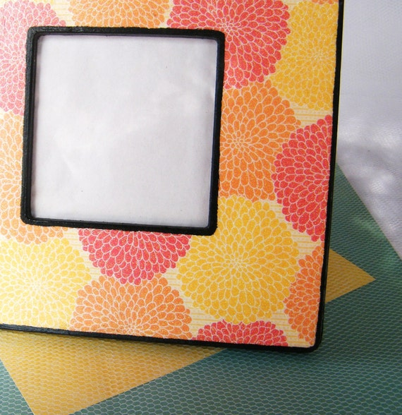 Glittery Fire Mums- Handpainted and Embellished Picture Frame, Red. Orange. Yellow. // LAST ONE