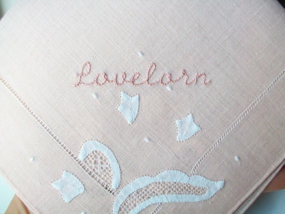 hand embroidered vintage hanky - lovelorn - free shipping