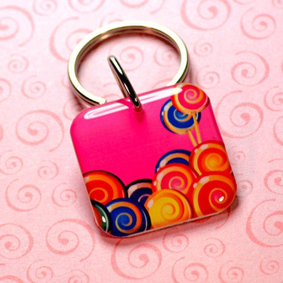 Sweet Lollipop Pet ID Tag Double Sided by id4pet.com