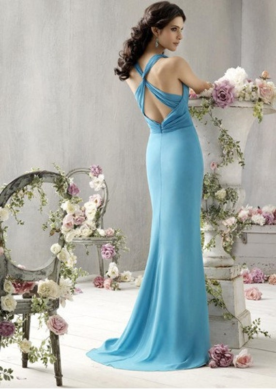 V - 2011 آبی گردن دراز طول لباس ساقدوش عروس