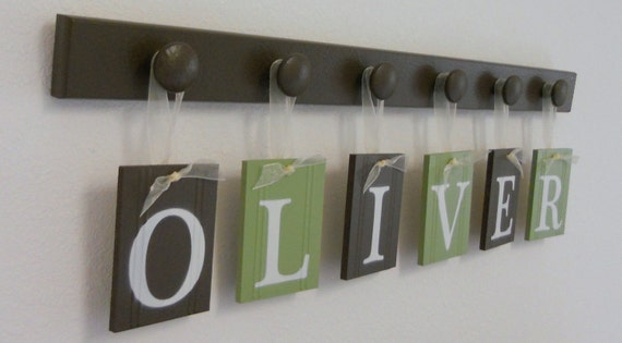 OLIVER Personalized first name letter sign includes 6 wooden peg shelf painted Light Green & Brown.  Custom order for your childs' bedroom.