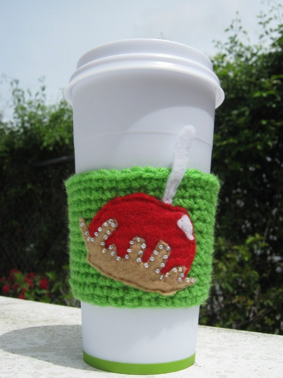 Carmel Apple Coffee Cozy lime green by PinkFrog4U on Etsy from etsy.com