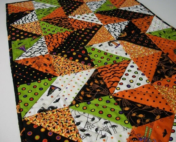 Trick or Treat Halloween Handmade Quilted Table Runner