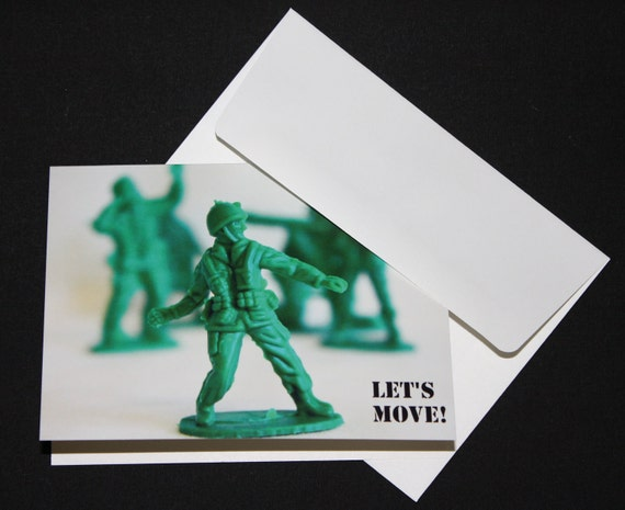 FREE Shipping Let's Move Military Men Note Card Set of 8