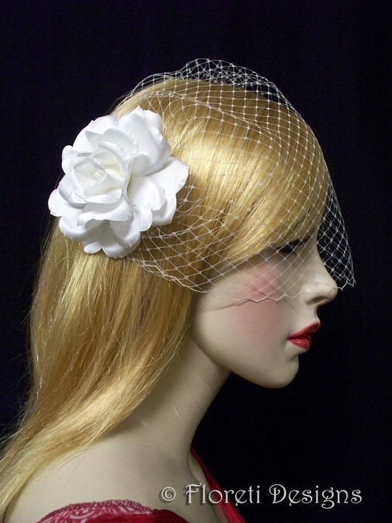 Bandeau Birdcage Veil and Rose Hair Flower Champagne Couture by Floretii from etsy.com