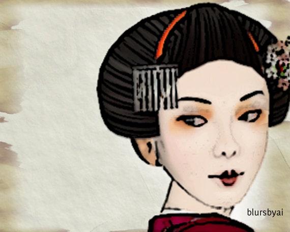 tags10 - Geisha printable tags. Thank you and blank. 2 high quality digital sheets