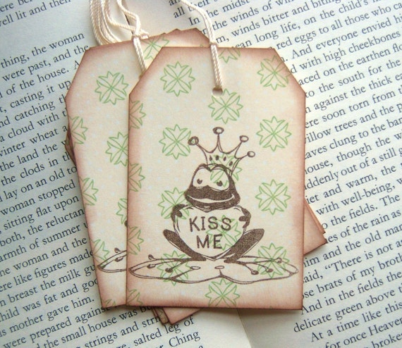 KISS ME Frog Prince Hang Tags - Vintage Inspired
