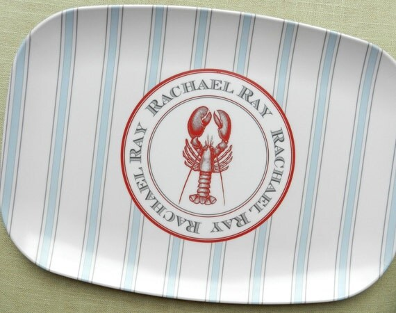 Ticking Stripe Melamine Platter: Lobster