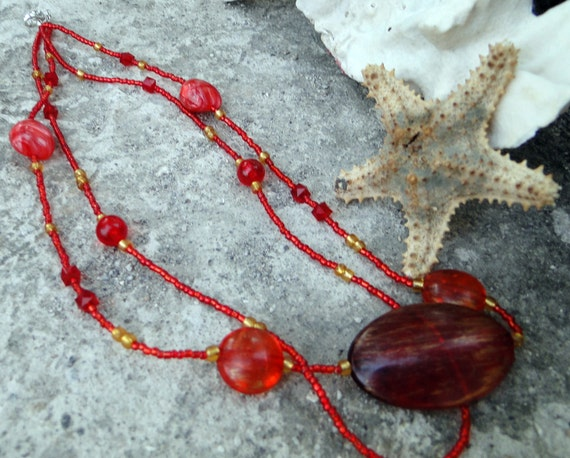 FRIDAY SALE   Jamaican Miss Hattie's Jam - Red and Gold Beaded Necklace