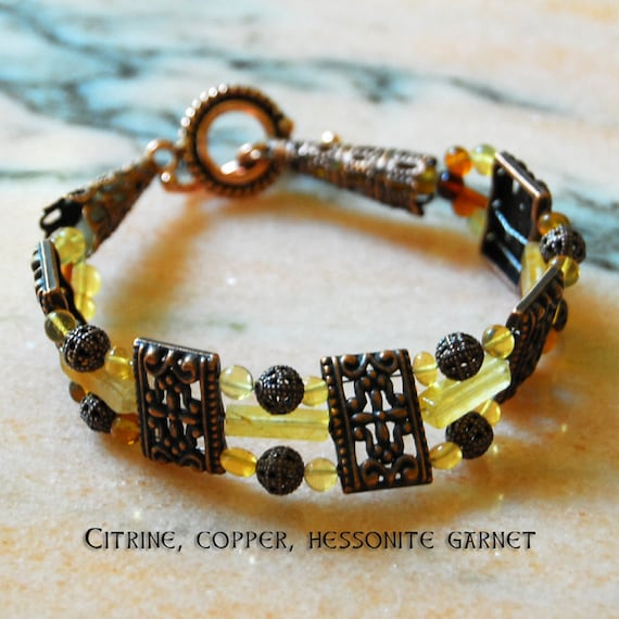 Citrine, Copper and Hessonite Garnet Bracelet