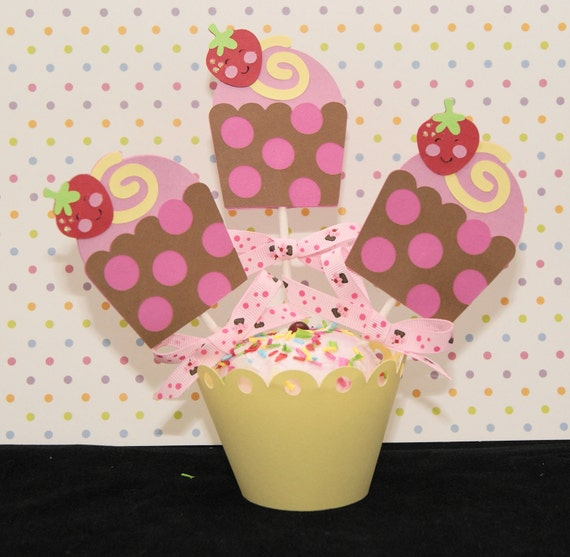 Cupcake with Smiling Strawberry Cupcake Topper, Set of 12 -- Ready to Ship
