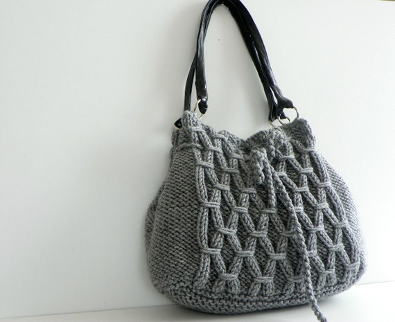 NzLbags Новый - Серый Вязание сумка, сумка - сумка, кожаный ремешок Nr-0186