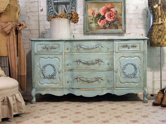 Vintage Painted Cottage Shabby Aqua Chic Dresser Server SV