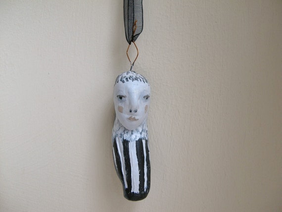 cathy cullis - striped figure - clay amulet sculpture - folk art ornament