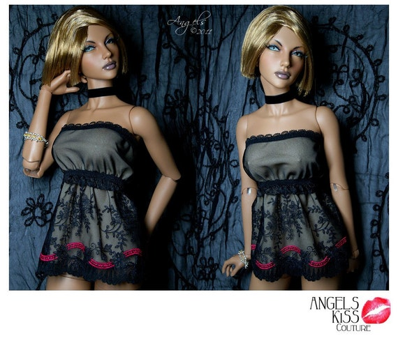 Black Mesh Embroidered Babydoll Dress / Lingere for SD & EID BJD dolls --Angels Doll Studio