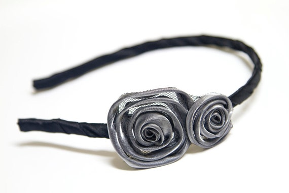 Classy Satin and Tulle Rolled Rosette Headband in Black and Gray