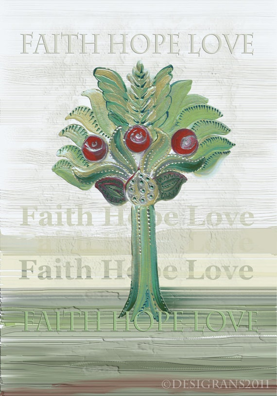 "Faith Hope Love. Spring. A series of ""Garden of Eden"". Medieval motifs."