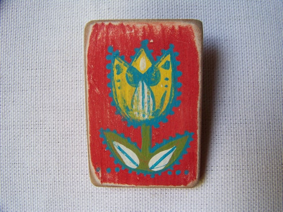 Dutch Tulip Wooden Folk Art Brooch/ Handpainted, One-of-a-Kind