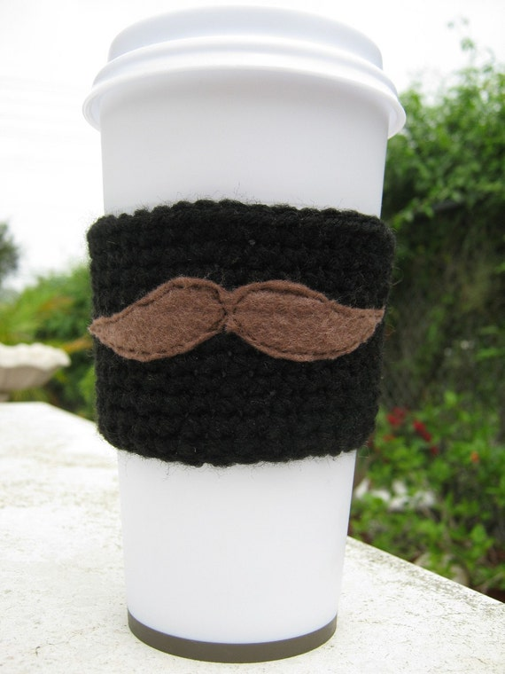 Mustache Coffee Cozy WITH  Coffee Cup Hands off my by PinkFrog4U from etsy.com
