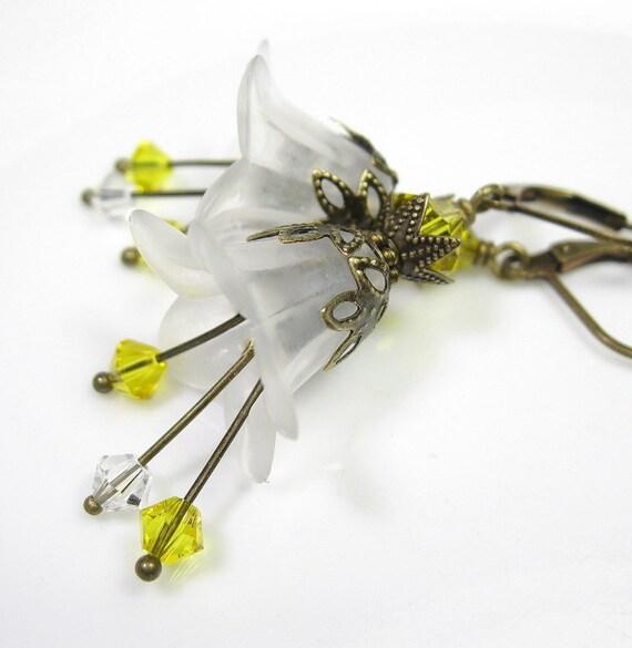 Citrine Swarovski Vintage Style Lucite Flower Earrings